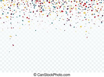 Colorful falling confetti. Top of the pattern is decorated with confetti. Vector illustration isolated on transparent background