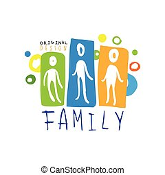 Colorful family logo design with abstract people