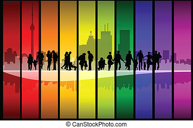 Colorful family walking in the city