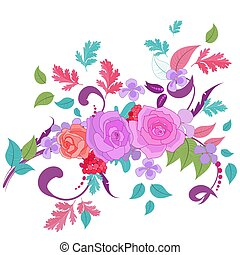 colorful fancy blooming ornament with roses for your design