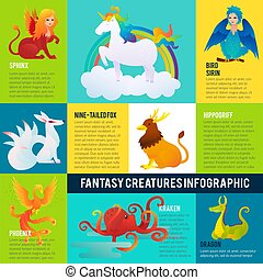 Colorful Fantastic Animals Infographic Concept