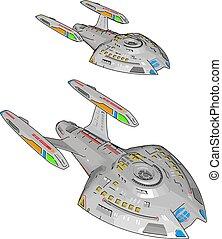 Colorful fantasy battle ship vector illustration on white background