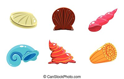 Colorful fantasy glossy seashells set, user interface assets for mobile apps or video games vector Illustration on a white background