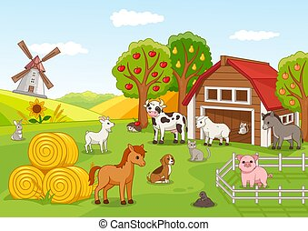 Colorful farmyard with animals and fruit orchard