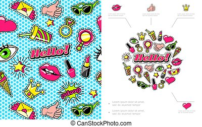 Colorful Fashion Patches Composition