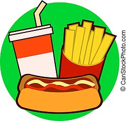 Colorful fast food on tray. Hot dog, french fries, soda vector illustration isolated on background
