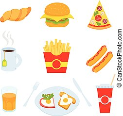 Colorful Fast food vector isolated on white background.