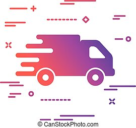 colorful faster flat truck icon button on a white background