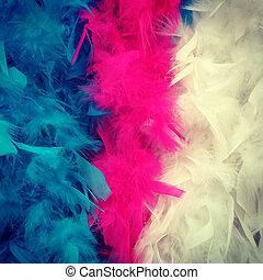 Colorful feather boa - Detail of colorful feather boa: blue...