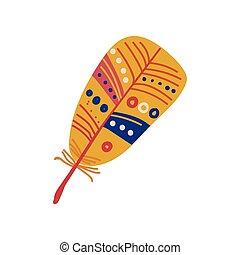 Colorful Feather Boho Style Design Element, Ethnic, Mystic Symbol Vector Illustration