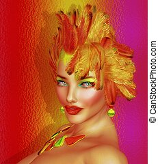 Colorful feathers,fashion model