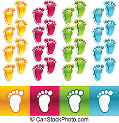 Vector set of colorful feet borders and icons.