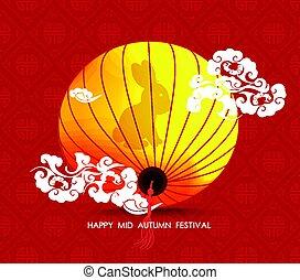 colorful., feliz, medio, chino, otoño, linterna, fiesta