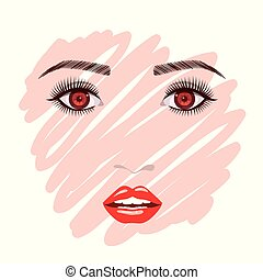 colorful female face sketch in white background