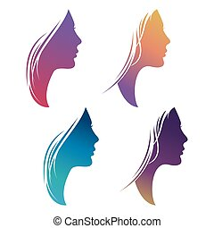 Colorful female silhouette set isolated on white background