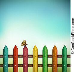 Colorful fence with butterfly. Eps 10
