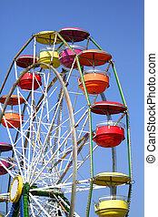 Colorful Ferris Wheel - Colorful ferris wheel with blue sky ...