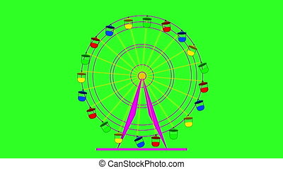 Colorful ferris wheel at a breakneck cabins on a green...