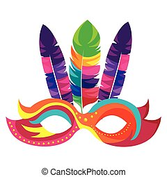 colorful festival mask with feathers