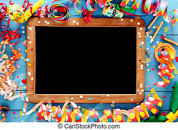Colorful festive frame around a vintage slate - Colorful...