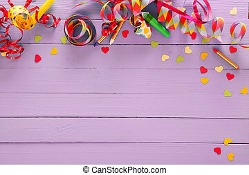 Colorful festive party border and background with with...