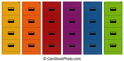 Colorful Filing cabinet isolated on white - rendering