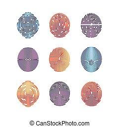 Colorful fingerprints icons - biometric info. Vector...