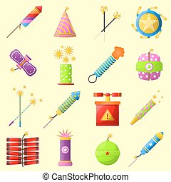 Colorful fire cracker collection for holiday fun. Vector...
