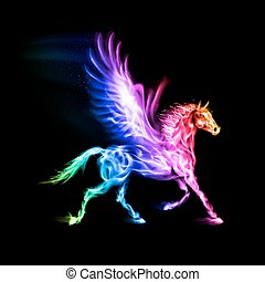 Fire Pegasus in spectrum colors on black background.