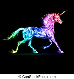 Fire unicorn in spectrum colors on black background.