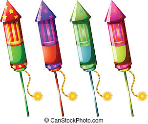 Illustration of the colorful firecrackers on a white background