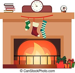Colorful fireplace icon isolated in cartoon flat style.