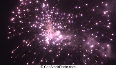 Colorful firework display for celebration. - Colorful...