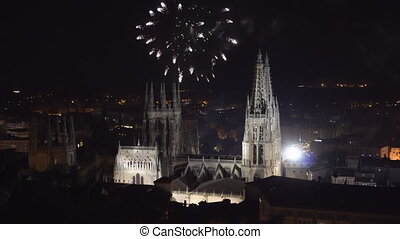 Colorful firework display over gothic cathedral in Burgos,...