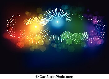 Colorful firework on black background for celebration