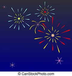 colorful firework on blue sky with open space ,vector illustrator.