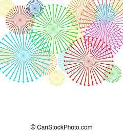 Colorful firework on white background. Vector illustration.