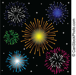 Colorful Firework vector set