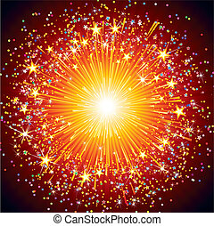 Colorful Fireworks - Abstract festive fireworks explosion ...
