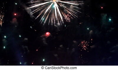 Colorful fireworks at holiday night
