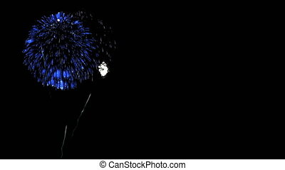 Colorful fireworks at night. Spectacular firecrakers 3d render. Blue version 20