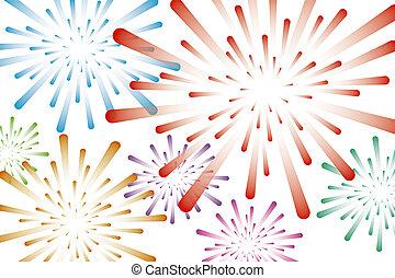 Colorful fireworks background vector illustration