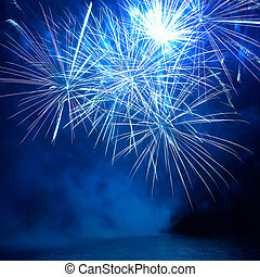Colorful fireworks - Blue colorful fireworks on the black ...