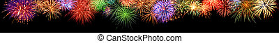 Colorful fireworks border, extra wide format - Gorgeous...