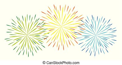 colorful fireworks celebration on white background