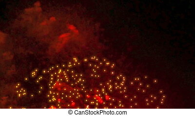 Colorful fireworks display at holiday night 4k