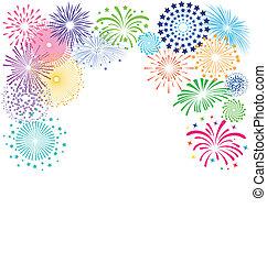 Colorful fireworks frame on white background