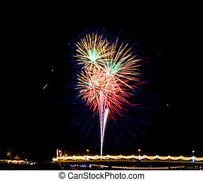 Colorful fireworks in Thailand