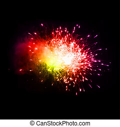 Colorful fireworks in the night sky. Vector - Fireworks in...