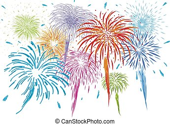 Colorful fireworks isolated on white background vector illustration